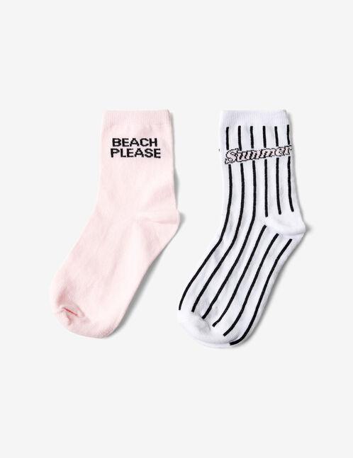 chaussettes à message blanches, noires et roses