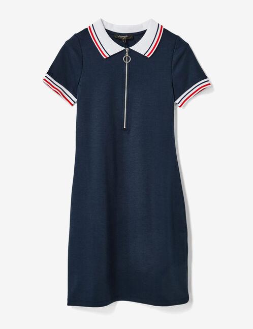 Navy blue zipped polo shirt dress