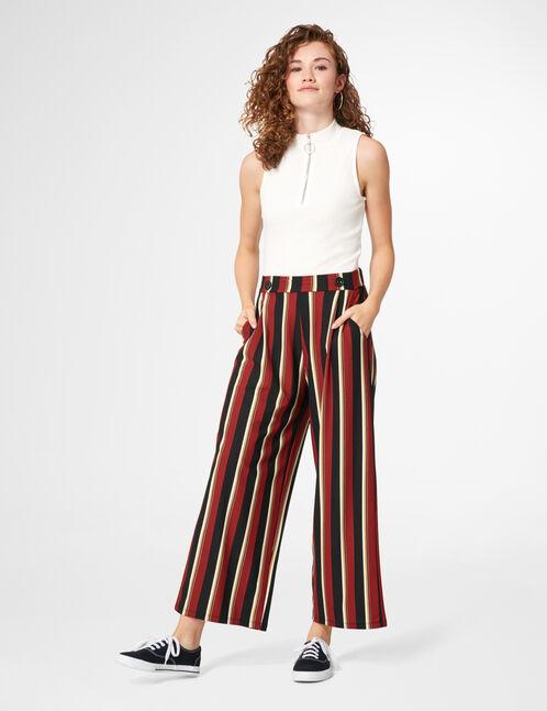 pantalon large rayé rouge jennyfer