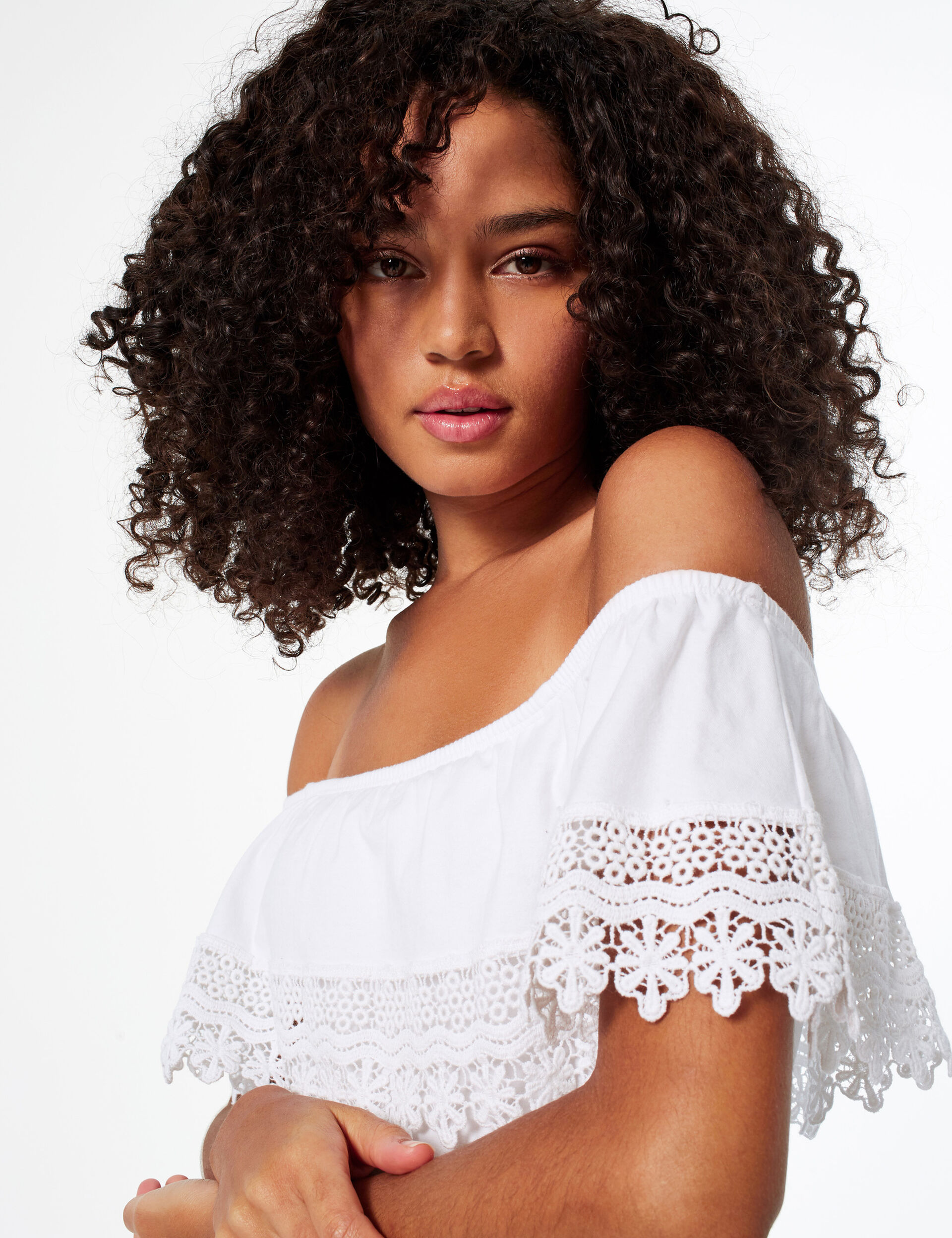 Bodysuit with frill and lace