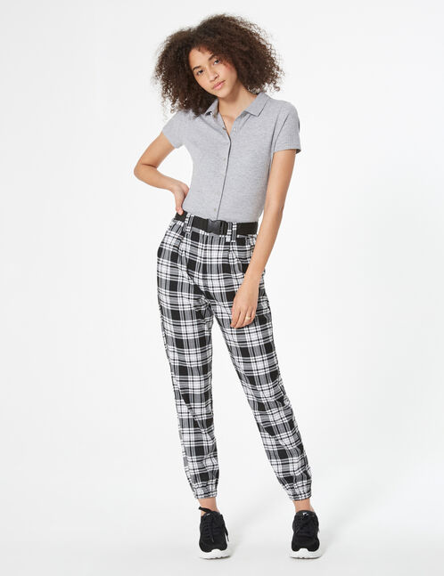 pantalon cargo à carreaux