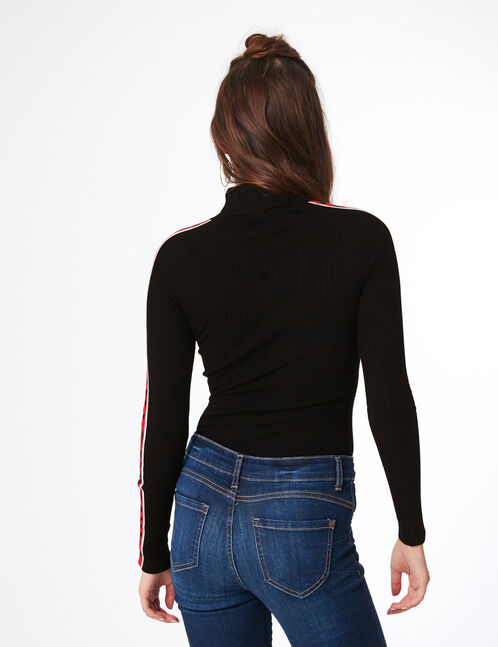 """Black and red ribbed """"W London"""" jumper"""