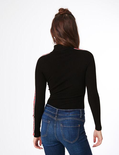 pull côtelé w london noir et rouge