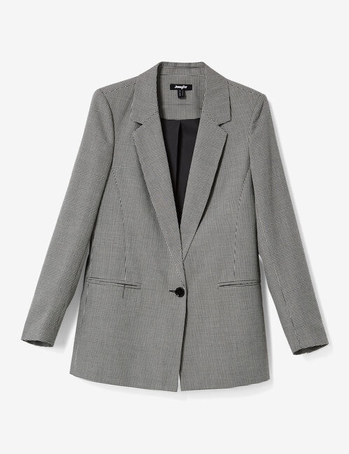 Black, white and red glen check blazer