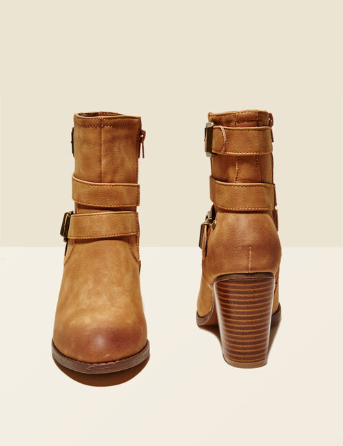 Camel ankle boots with strap detail