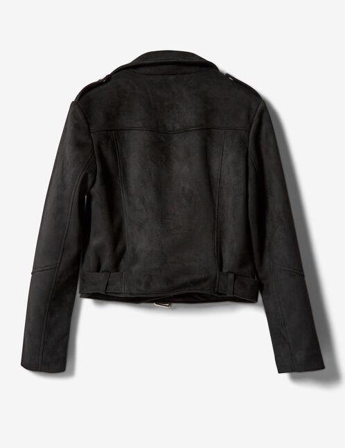 veste biker suédine noir