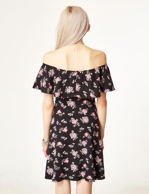 Black and pink off-the-shoulder dress
