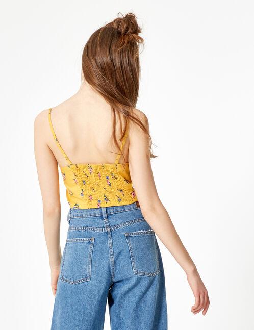 blouse crop fleuri à nouer ocre