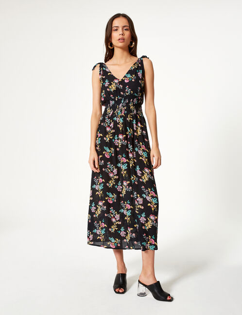 Black and multicoloured floral maxi dress
