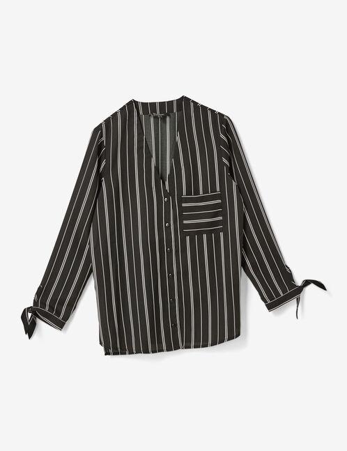 chemise rayée col v noire et blanche