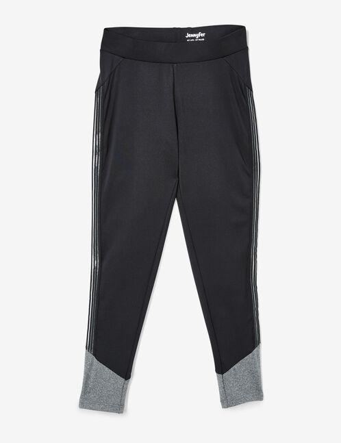 legging fitness avec résille noir et gris chiné