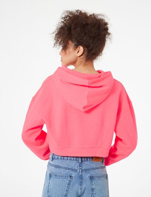 Cropped neon pink hoodie