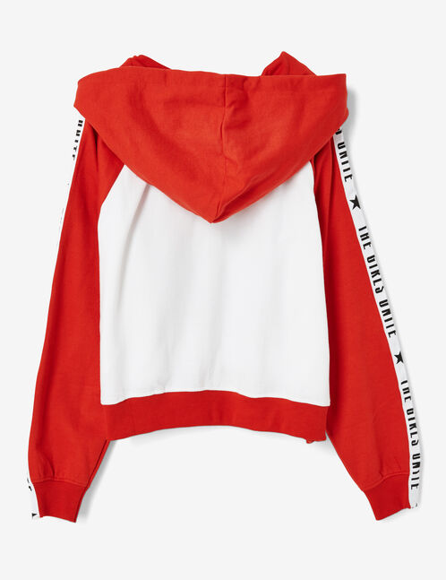 Cream and red zip-up hoodie with text design detail
