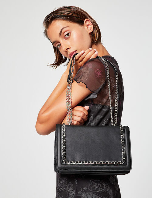 Imitation leather bag with chain detail