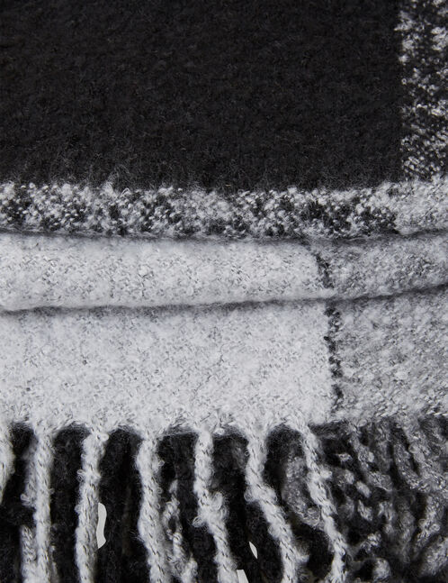 écharpe plaid texturée grise et noire