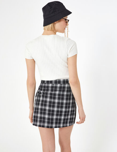 jupe à carreaux avec zip blanc et noir