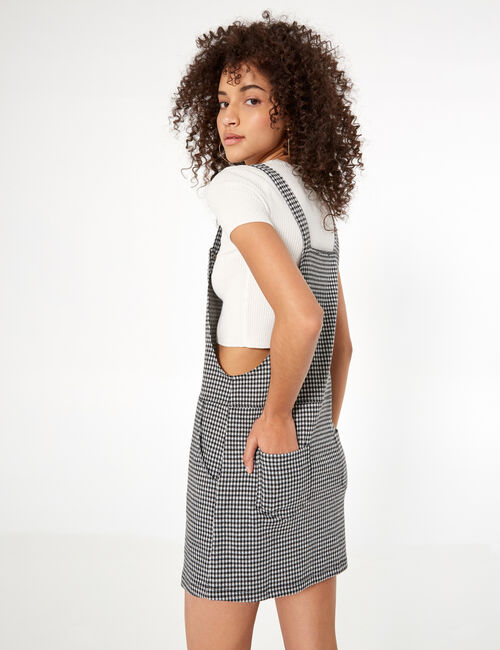 Black and white houndstooth dungaree dress