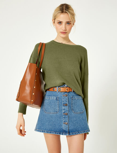 Khaki cashmere-feel jumper