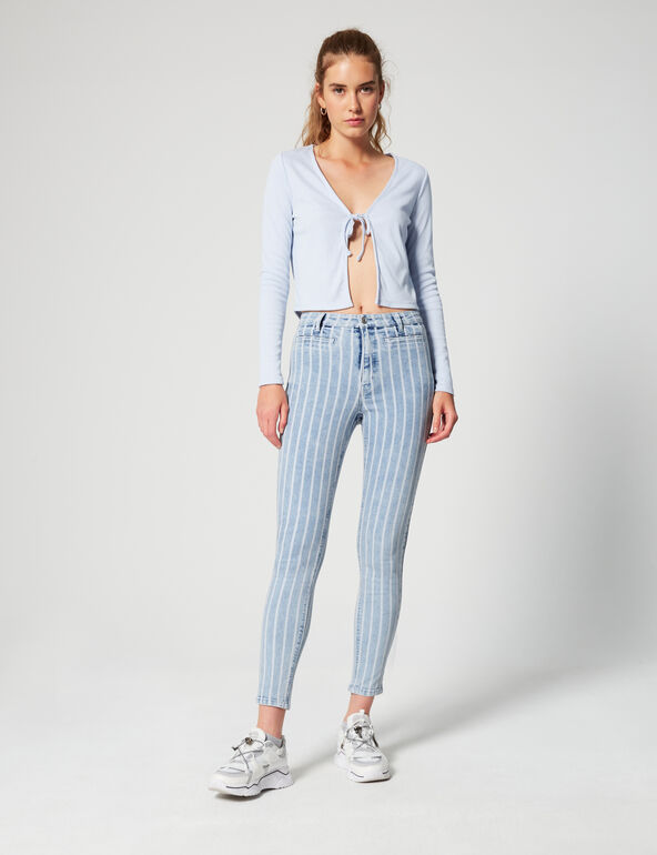 Jean skinny taille haute rayé