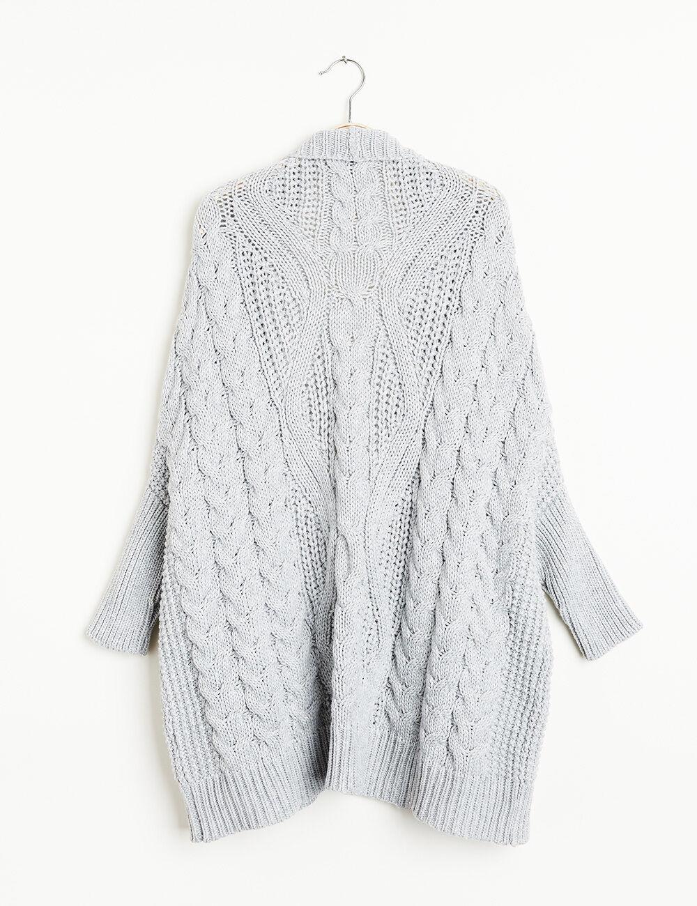 Grey Marl Cable Knit Longline Cardigan • Jennyfer