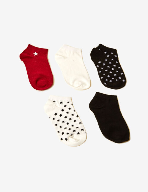 Black, white and burgundy star socks