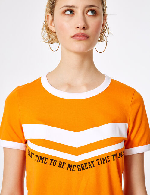 Orange chevron print T-shirt