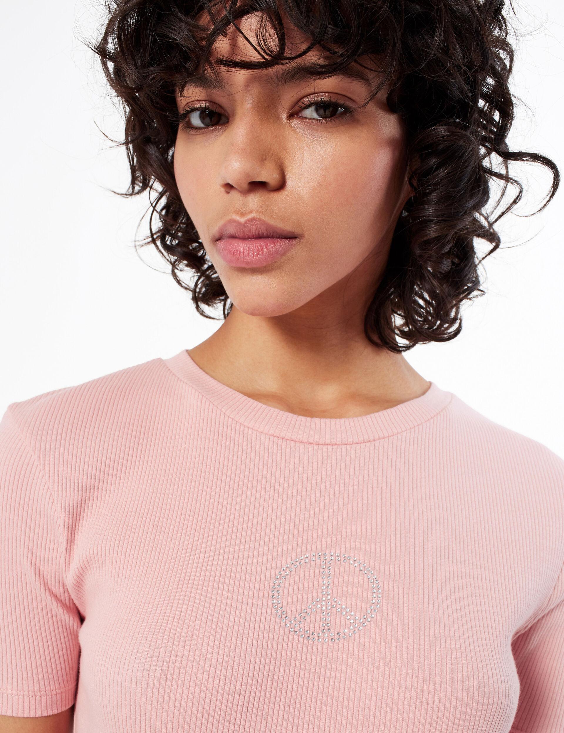 Rhinestone motif T-shirt