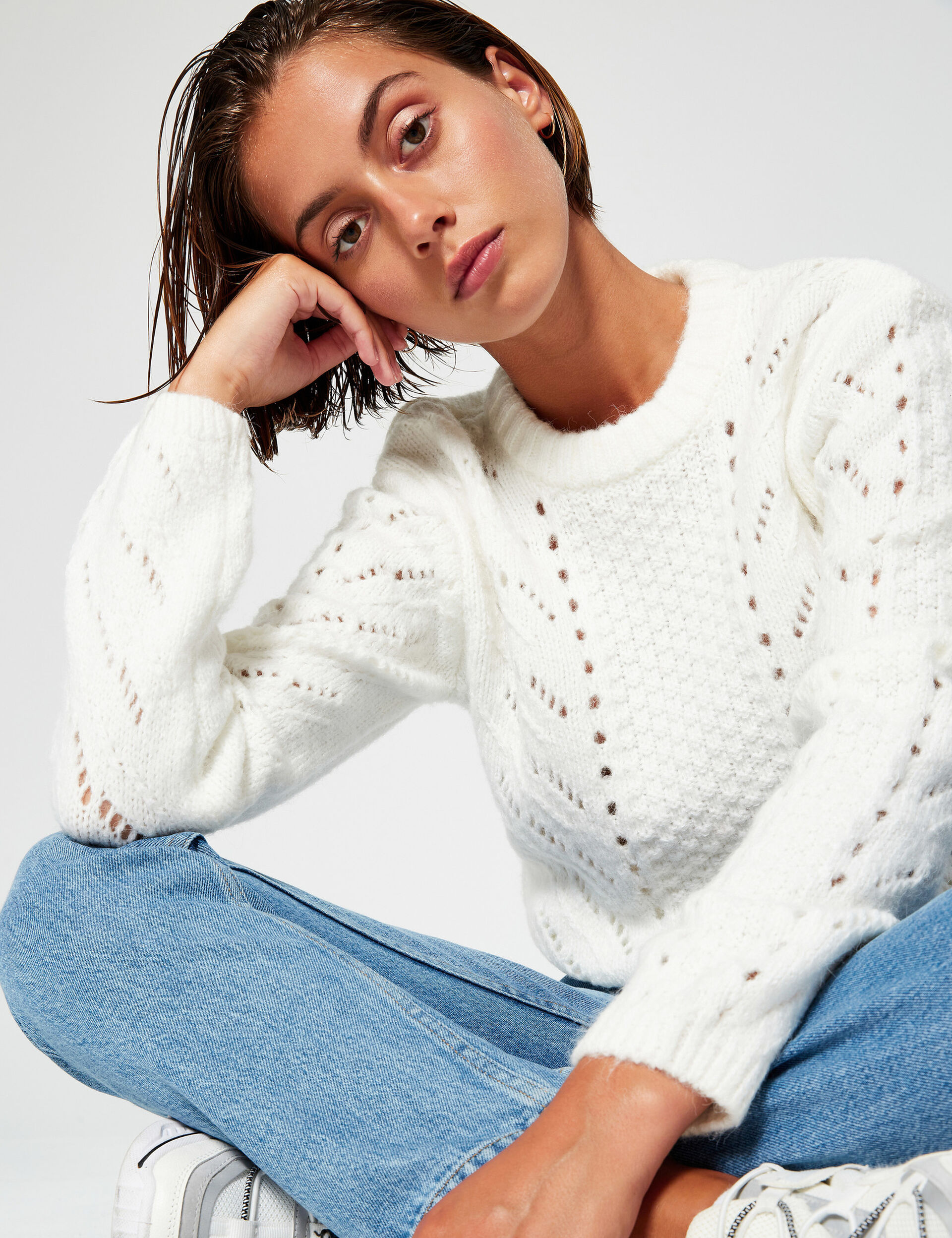 Openwork cable knit jumper