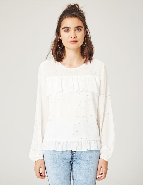 Cream star print blouse