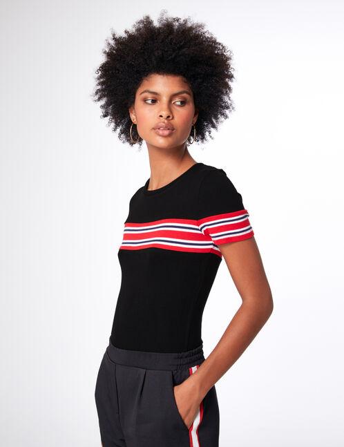tee-shirt avec rayures noir