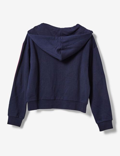 sweat chevron zippé bleu marine et blanc