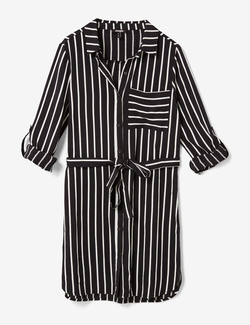 Black and cream striped shirt dress