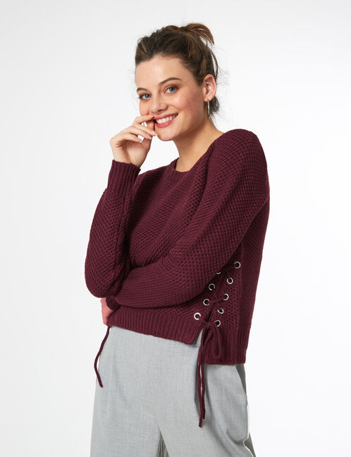 Plum jumper with lacing detail