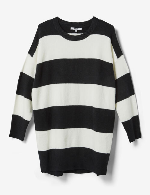 Long cream and black striped cashmere-feel jumper