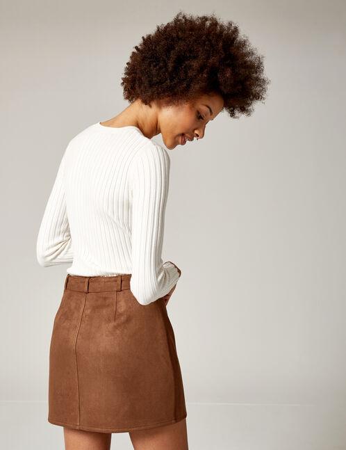 jupe suédine avec ceinture camel