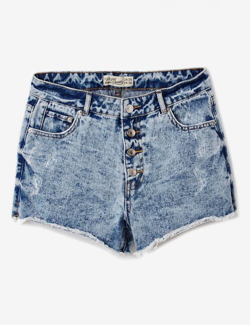 Faded blue high-waisted denim shorts