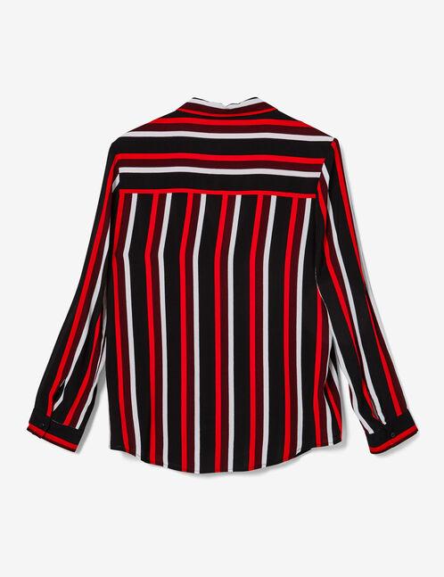 blouse rayée col v noire, blanche, rouge, et bordeaux