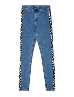 Product Jegging femme, bleu, bandes léopard sur les côtés, 2 fausses poches devant, 2 poches dos, fermeture zippée boutonnée.  Photos retouchéesMarque Jennyfer Catégorie jeans