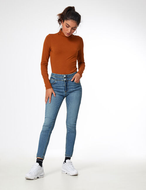 Light blue double-waist jeans