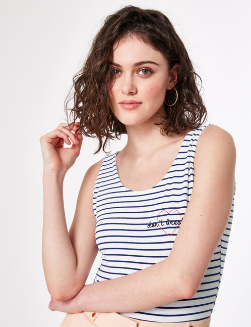 Cream and blue striped bodysuit with embroidered text design detail