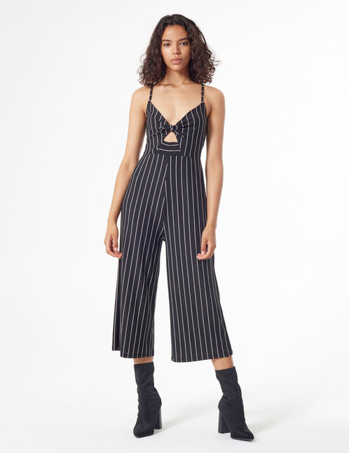 Striped jumpsuit with knot
