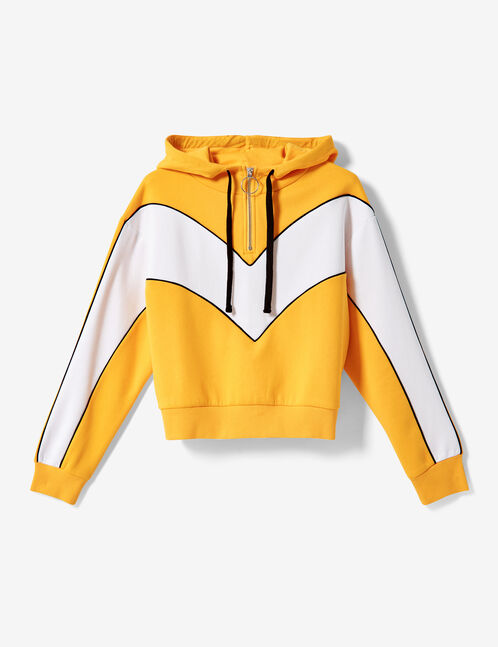 Ochre, white and black hoodie with chevron detail