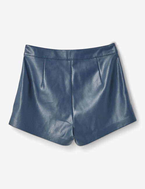 Blue faux leather shorts
