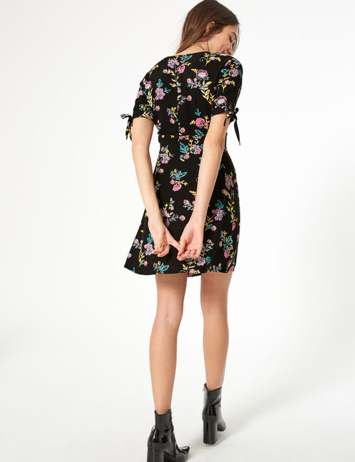 Black lightweight floral dress
