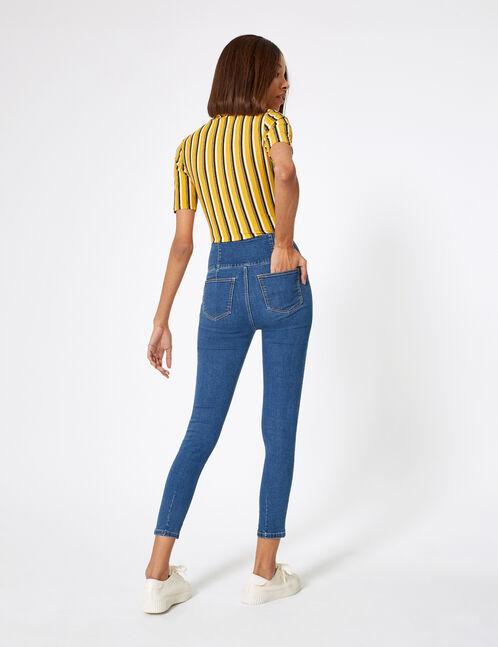 Medium blue high-waisted zipped jeans