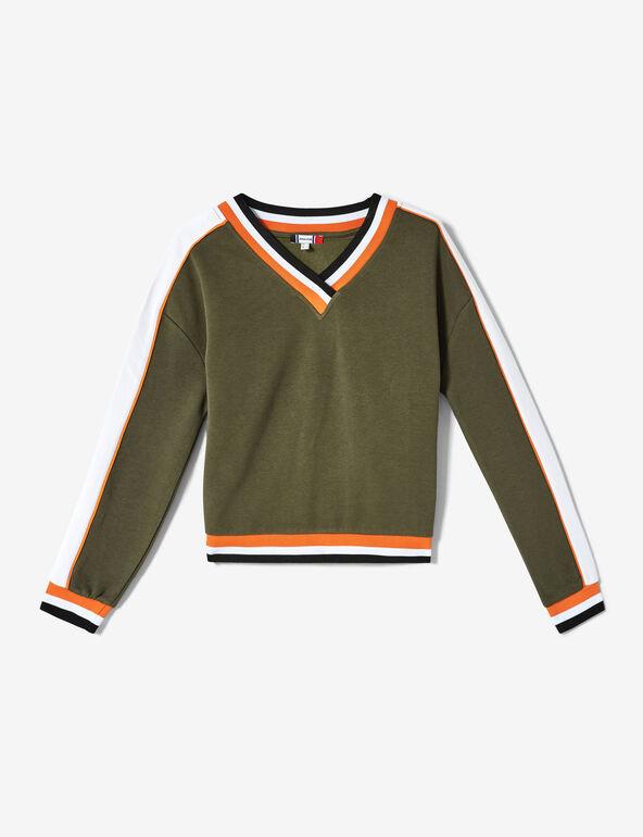 Sweat finitions rayées kaki, orange, blanc et noir