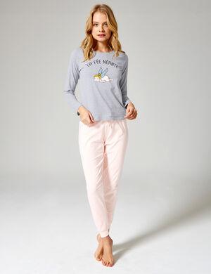 set pyjama long gris, rose clair, blanc et bleu clair