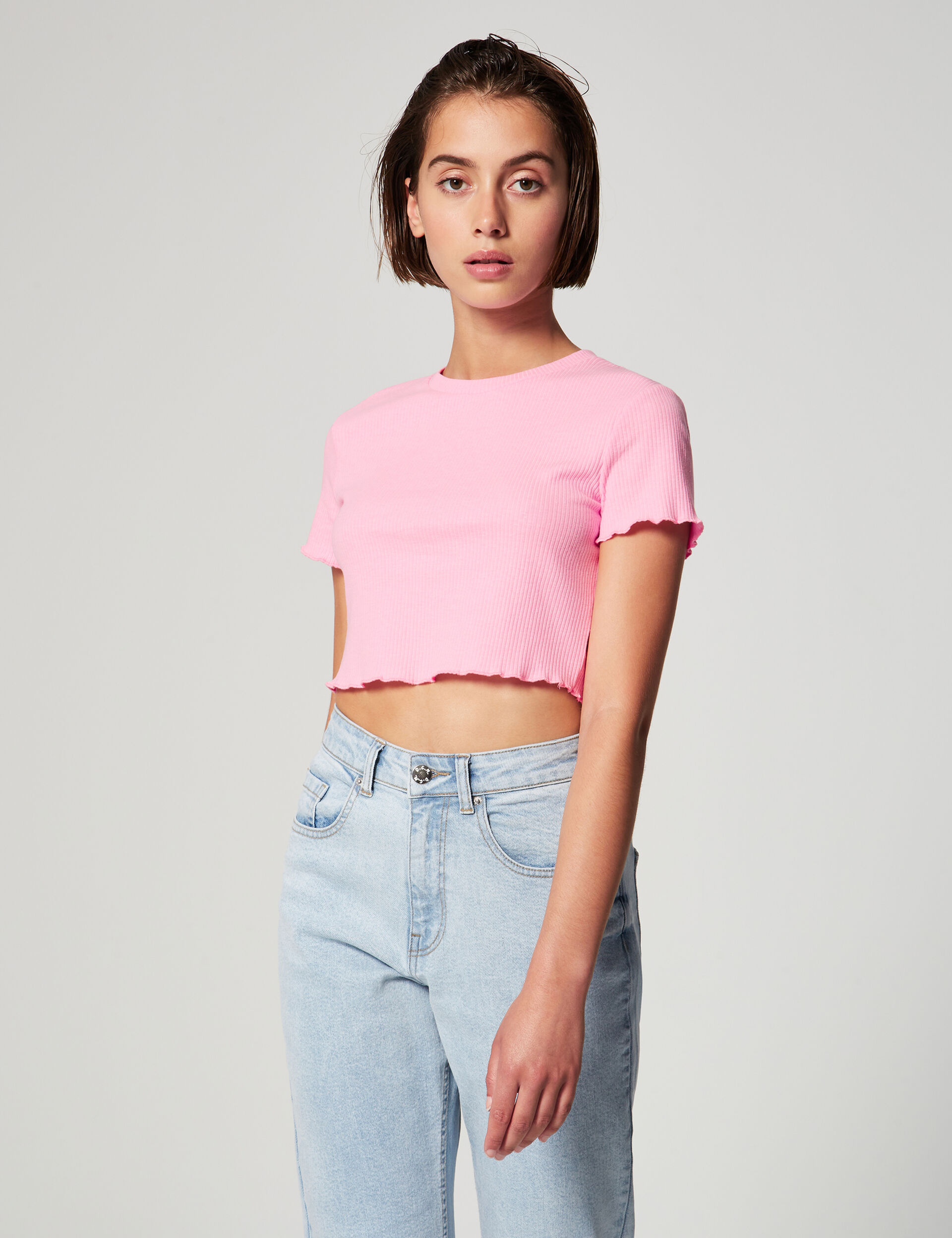 Crop top côtelé