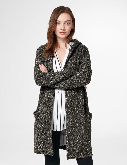 Gilet long à capuche gris anthracite chiné femme • Jennyfer 845cb5125b69