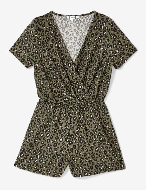 Khaki leopard print playsuit